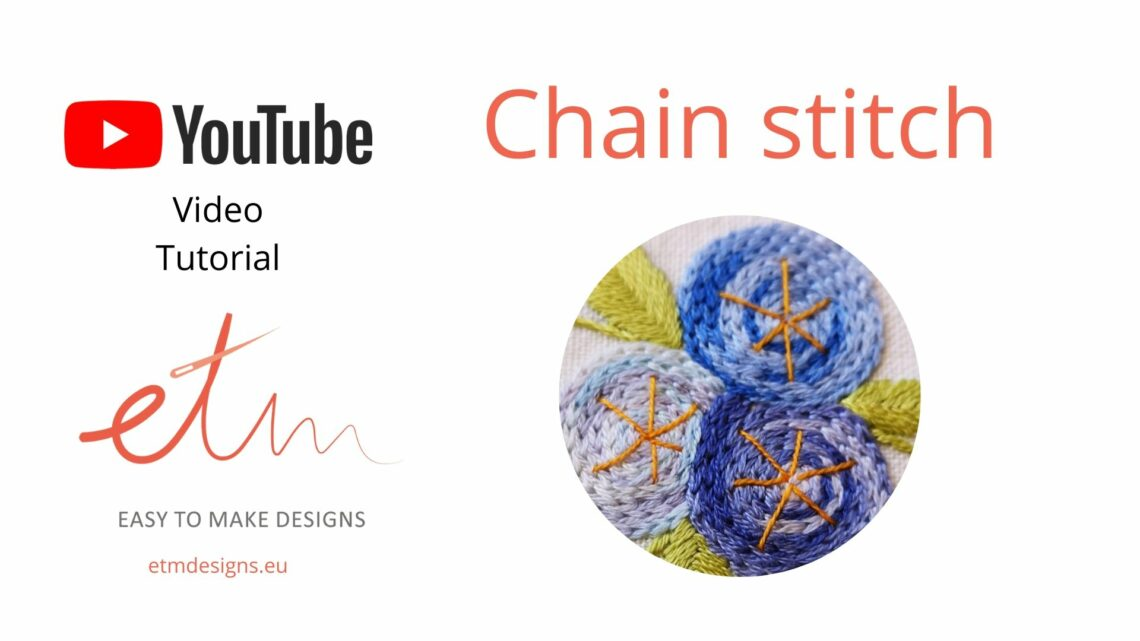 Chain stitch hand embroidery video tutorial cover photo