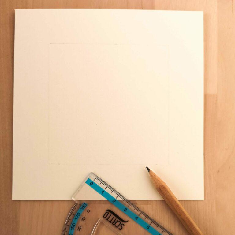 Blank paper card, ruler, pencil