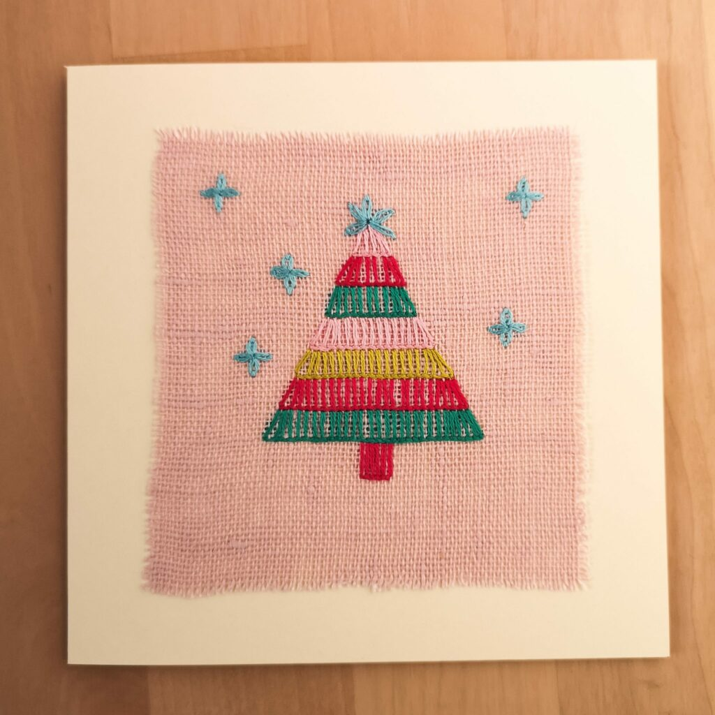 Finished hand made greetings card with Christmas tree embroidery