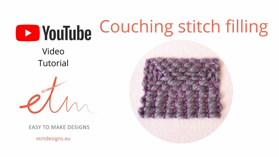 Couching stitch filling video tutorial cover