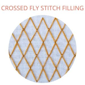Crossed fly stitch filling hand embroidery
