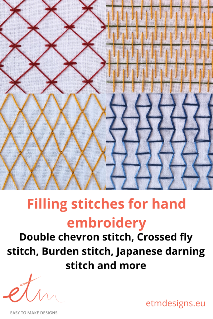 4 filling stitches, Double chevron, burden, crossed fly and Japanese darning, hand embroidery