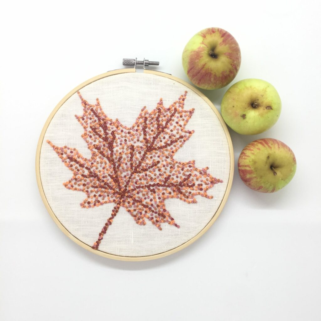 Autumn leaves - Maple - hand embroidered hoop art with apples