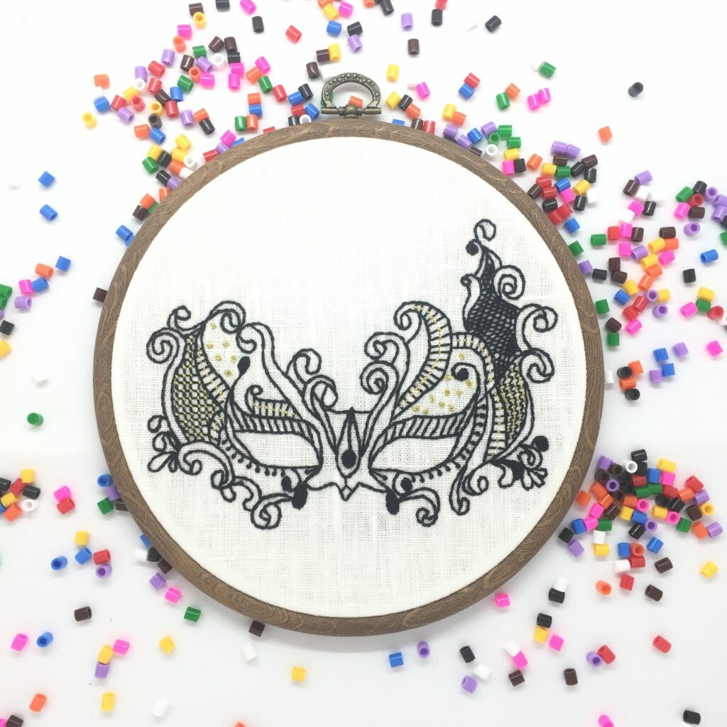 Venetian laced mask hand embroidery hoop art wall hanging