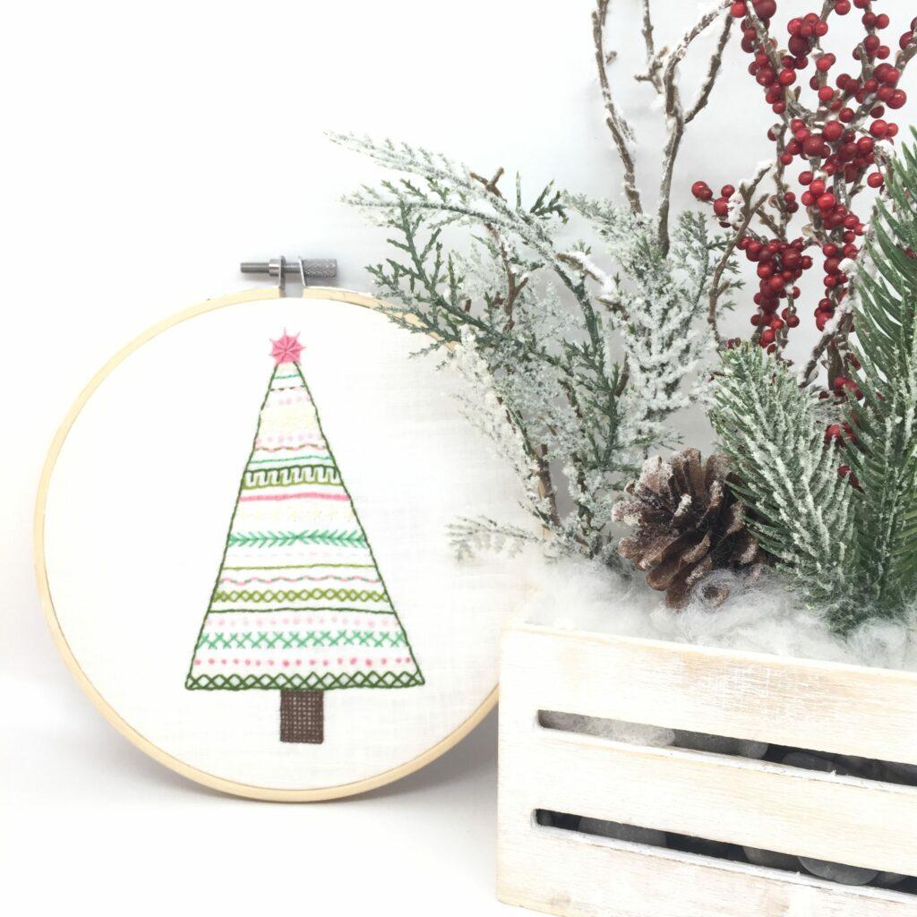 Christmas ornament with hand embroidered Christmas tree