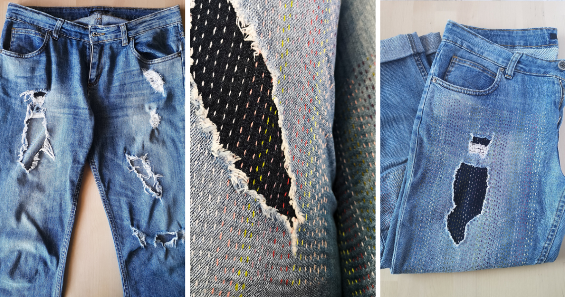 Repairing jeans with visible mending