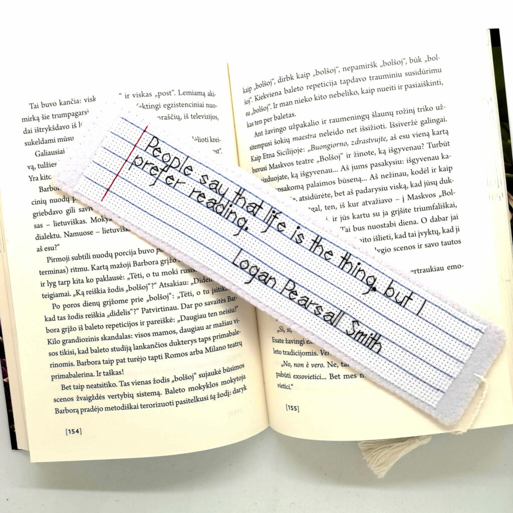 Hand embroidered bookmark with a quote