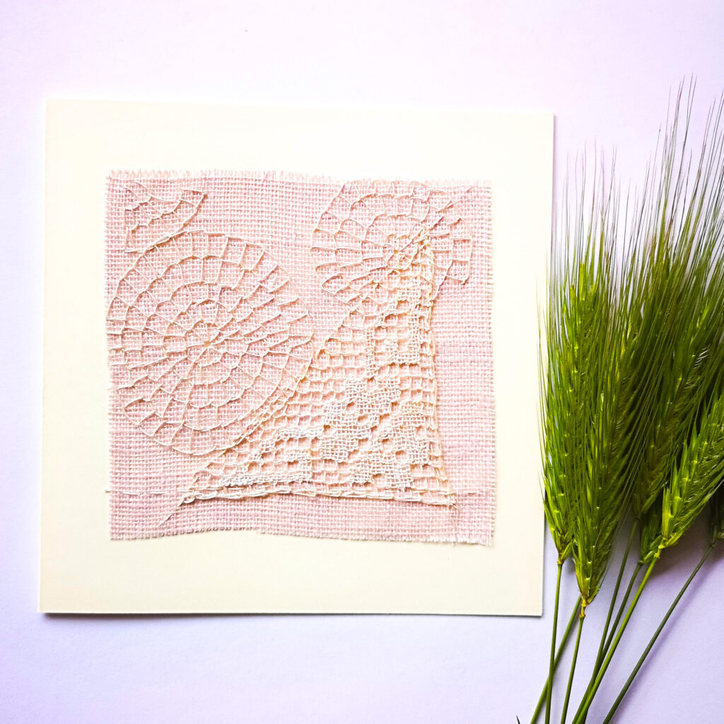 Embroidered postcards with vintage lace
