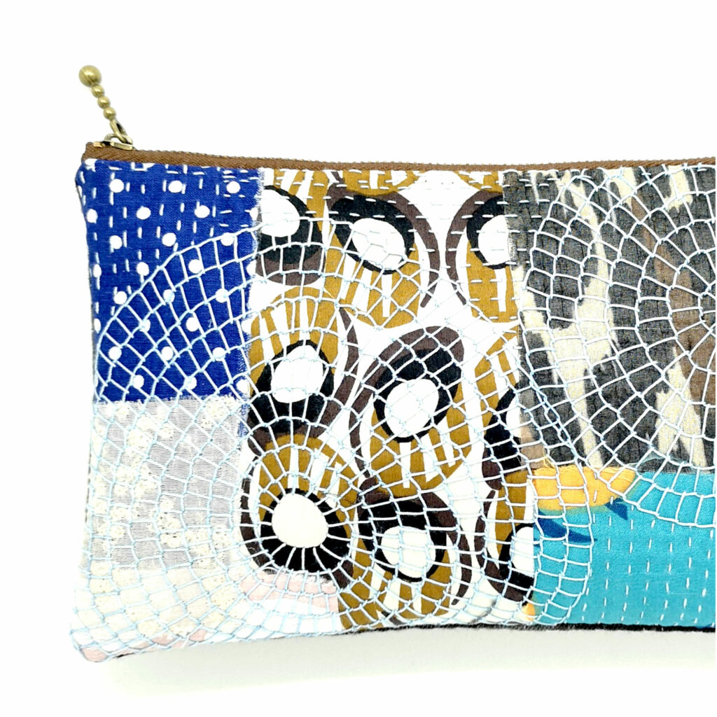 Fabric zipper pouch embroidered
