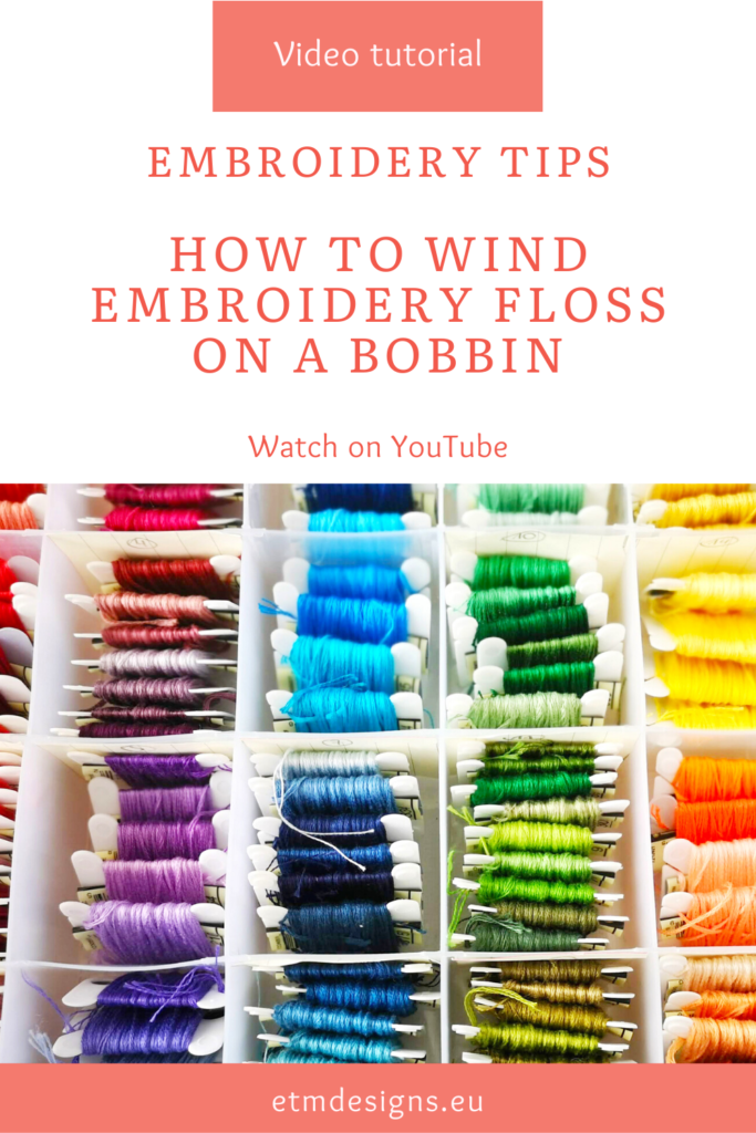 embroidery floss on the bobbins