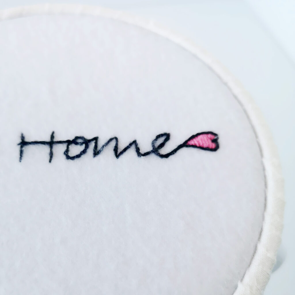 Home with a heart embroidery