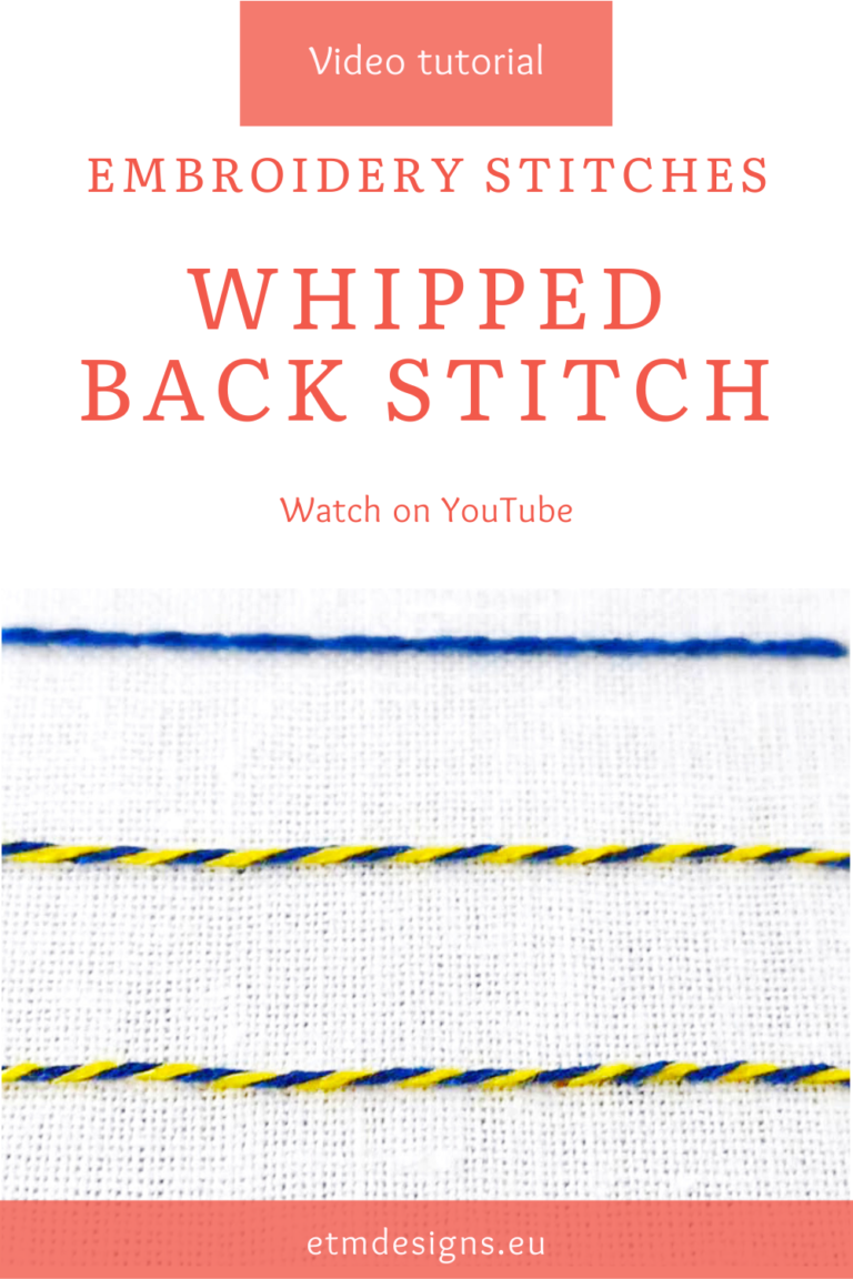 Whipped backstitch video tutorial PIN