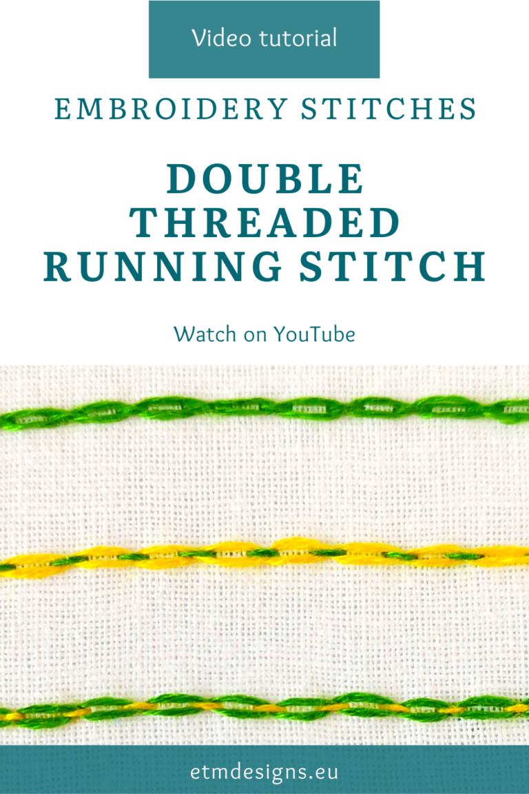 Double threaded running stitch hand embroidery video tutorial