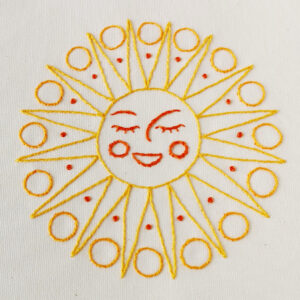 Hand embroidery pattern young sun